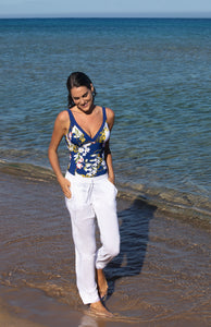 Vacances Delice White Linen Beach Trousers