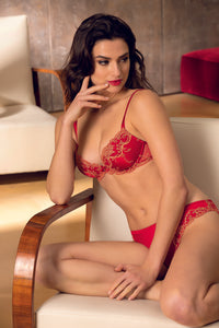 Splendeur Soie Silk Padded Plunge Bra In Grenade Red