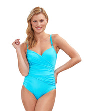 Load image into Gallery viewer, Feraud Turquoise Drape Swimming Costume