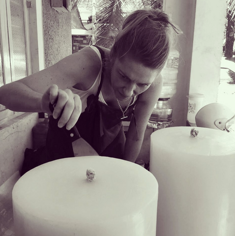 Jodi Curtis - Founder - Hand Finishing A MAJO Giant Outdoor Garden Candle