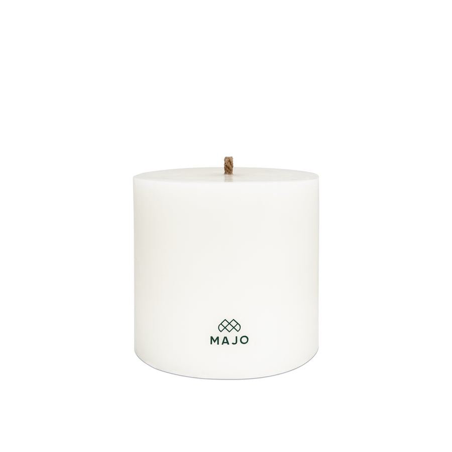 MAJO 20 cm large outdoor garden candle with grey MAJO logo and thick wick