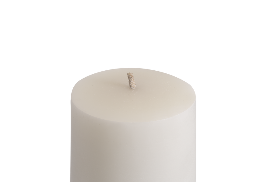 Top view of MAJO MENA white outdoor pillar candle with thick wick