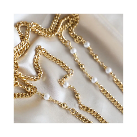Bold Gold and Pearl Mask Chain - EYEBAR HOUSTON