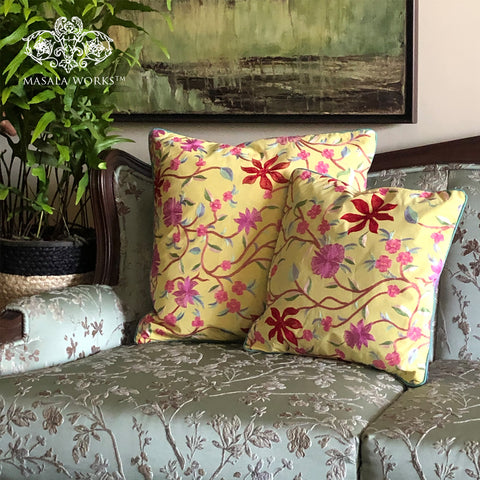 Embroidered Floral Blossom Cushion