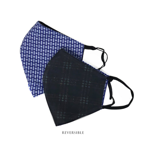Bold Blue and black check Reversible Mask