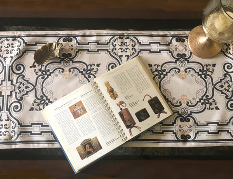 Summer Grunge & Red Baroque Reversible Coffee Table Runner