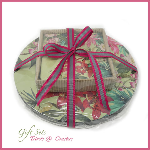 Tropical Foliage Trivet & Coaster Set