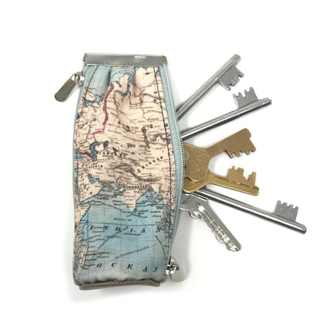 World Map Key Pouch
