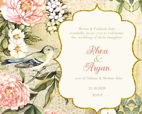 Vintage Bird Wedding Card