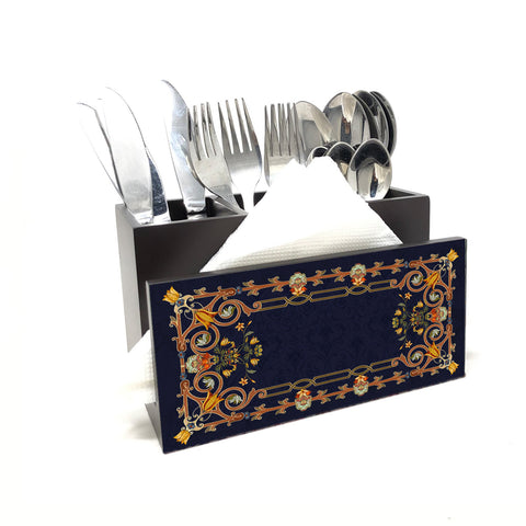 Pichwai Window Cutlery Stand with Tissue Paper Holder
