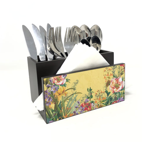 Glazed Medow Cutlery Stand with Tissue Paper Holder