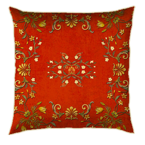 Distress Delicate Floral Rust Cushion