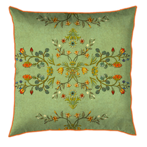 Distress Delicate Floral Mint Cushion