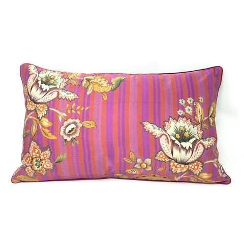 Magenta Chintz Stripe Long Cushion