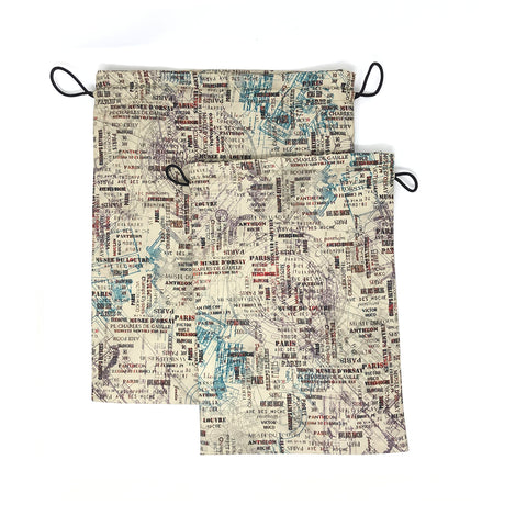 Route Map Drawstring Pouches