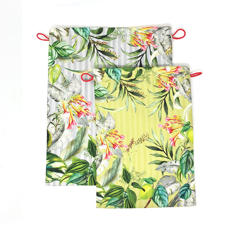 Tropical Foliage Drawstring Pouches