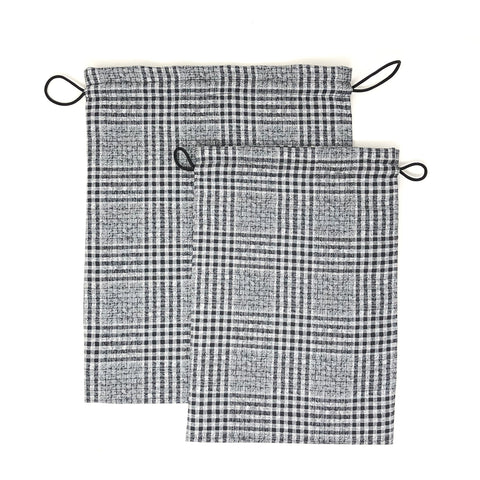 Monochrome Checked Drawstring Pouches