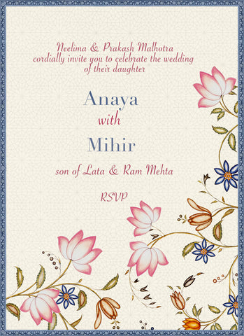 Lotus Chintz Wedding Card