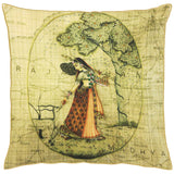 Lady of Rajasthan with a map Cushion