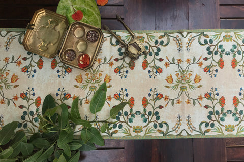 Intricate Floral Cream Coffee Table Runner