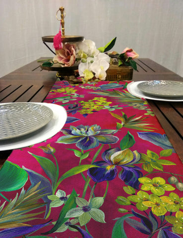 Pink Floral Pop Dining Table Runner