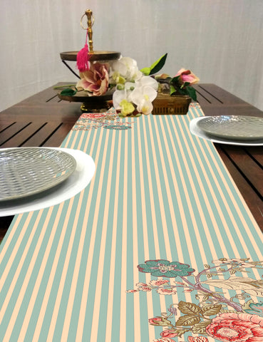 Stripe Chintz Floral Dining Table Runner