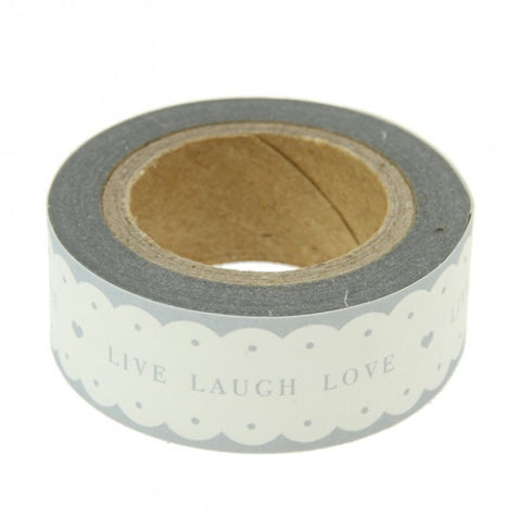 Tape: Scalloped White & Grey 'Live Laugh Love'