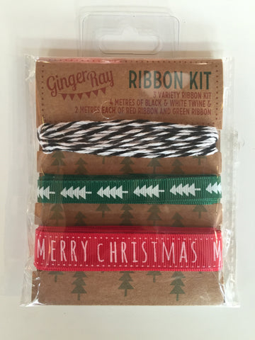 Christmas Ribbon Kit: Red & Green Ribbon & Twine Assortment 8m