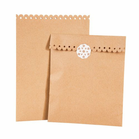 Bags: Kraft Treat Bags & Sticker Set: Pack of 8