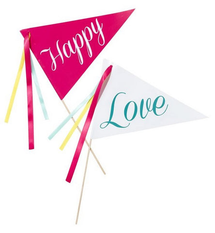 Table Centrepiece: 'Be Happy' Flags