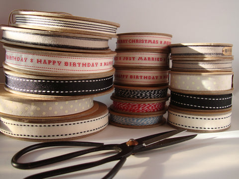 Ribbon: Taupe with Two Black Stripes 3m