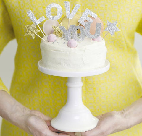 Cake Toppers: Miss Etoile Silver Glitter: Love You