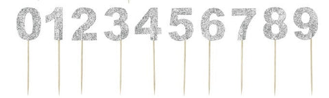 Miss Etoile Numbered Cake Toppers in Silver Glitter