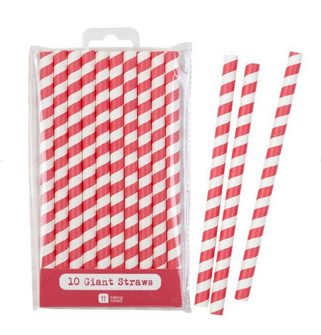 Straws: Giant Straws Pink, Blue & Red - Packs of 10