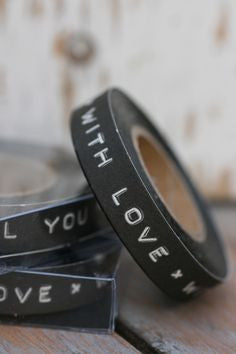 Tape: 'With Love' - Typewriter/Dymo Style in Black