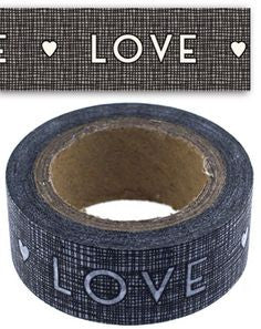 Washi Style Black Masking Tape 'LOVE'