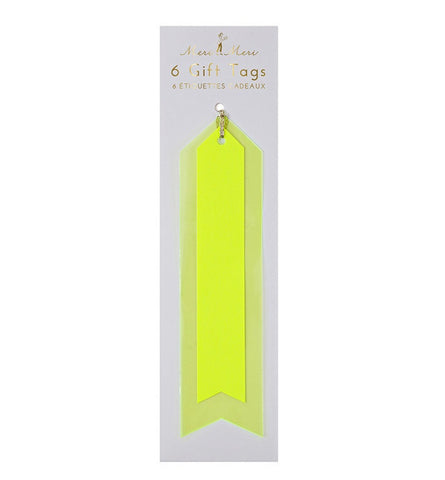 Neon Gift Tags: Yellow Vinyl - Pack of 6