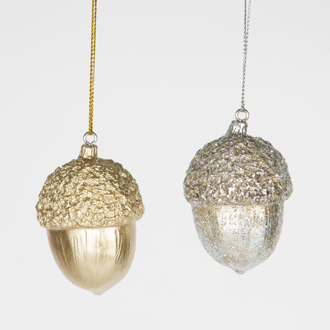 Christmas Decoration: Acorn - Gold or Silver