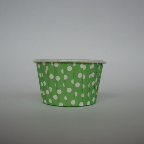 Baking Cups: Pleated Polka Dots/Spots: Green: Pack of 20