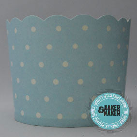 Baking Cups: Scalloped Blue with White Polka Dots: Pack of 20