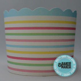 Baking Cups: Large Scalloped Multi-Coloured Horizontal Stripes - Pack of 25