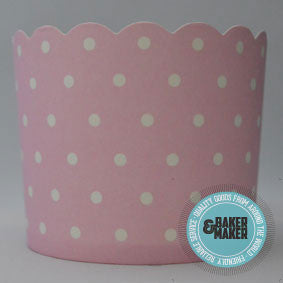 Baking Cups: Scalloped Pink with White Polka Dots: Pack of 20