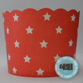 Baking Cups: Scalloped Red with White Stars - Pack of 20