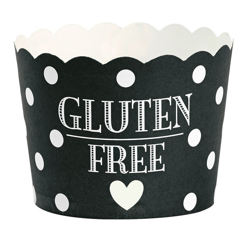 Baking Cups: Gluten Free - Black Polka Dot - Miss Etoile - Pack of 24