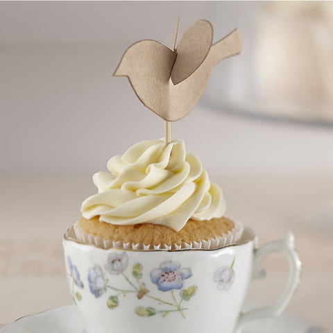 Cupcake Sticks/Toppers: Kraft Lovebirds