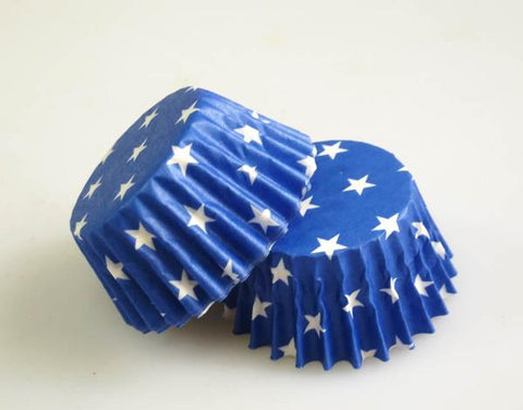 Large Cupcake/Muffin Cases: Blue with White Stars