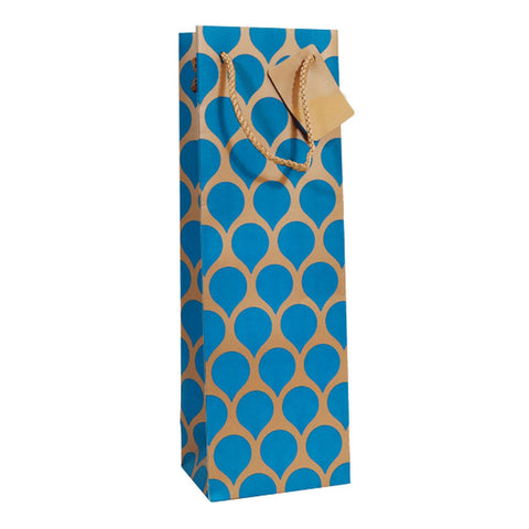 Wine & Champagne Bottle Bag: Gold with Blue Teardrop