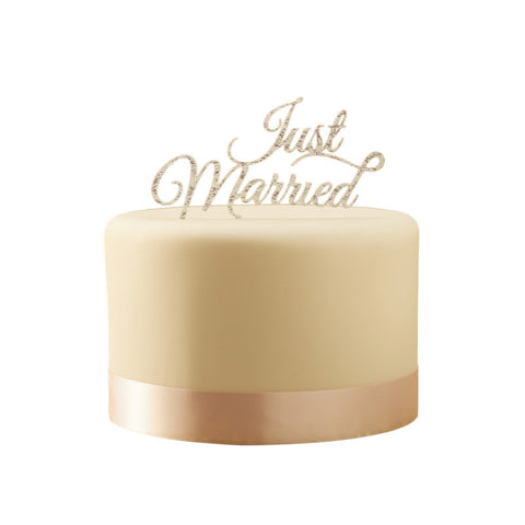 Cake Topper: Silver Just Married