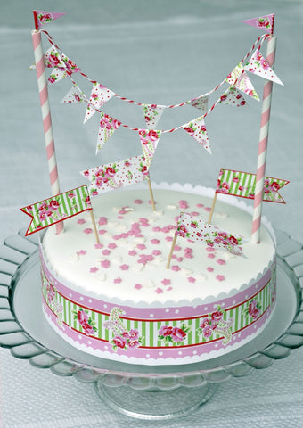Cake Bunting & Decorating Set: Paisley Rose