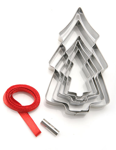Cookie Cutters: Christmas Tree Hanging Decorations - Set of 5 Cutters